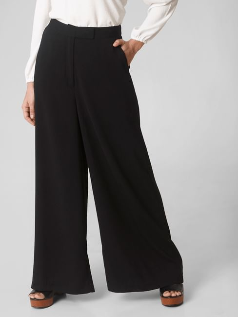 Black High Rise Wide Leg Pants