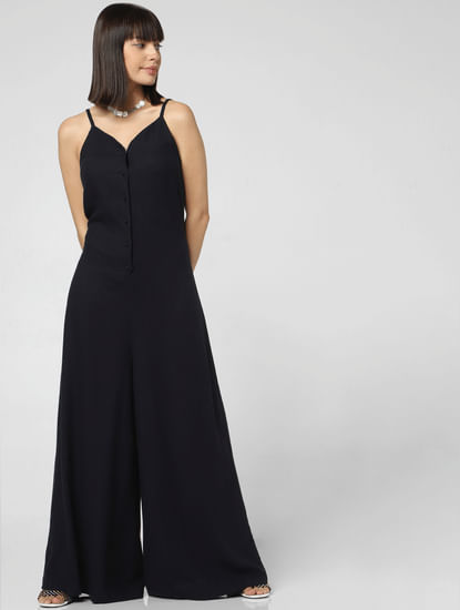 Navy Blue Flared Jumpsuit