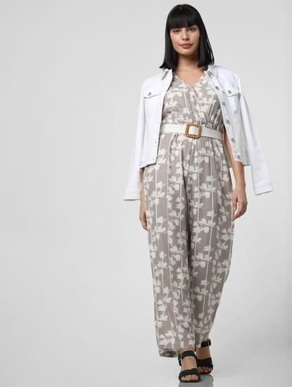 Grey Floral Print Jumpsuit