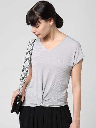 Grey Front Twist Top