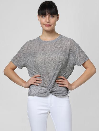 Grey Front Twist T-shirt