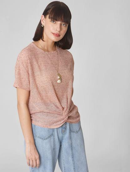 Pink Front Twist T-shirt