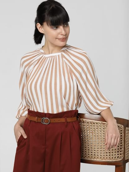 Brown Striped High Neck Top