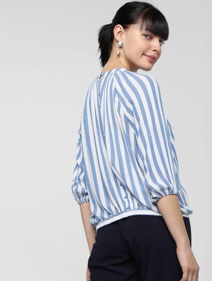 Blue Striped High Neck Top