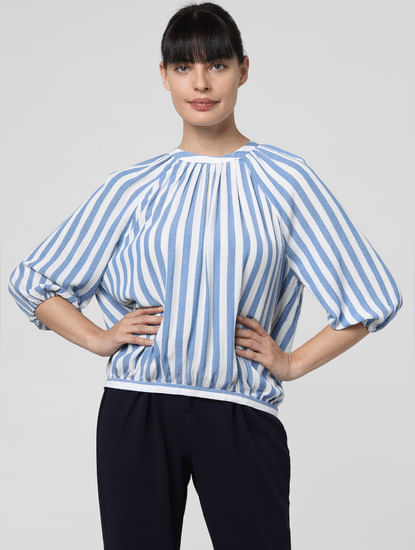 Blue Striped High Neck Top