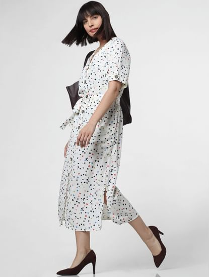 White All Over Print Midi Dress