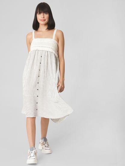 Ecru Striped Midi Dress