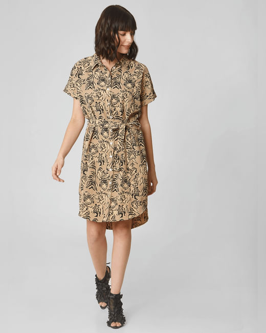 Light Brown All Over Print Shirt Dress
