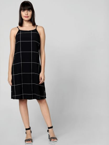 Black Check Shift Dress