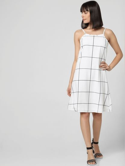 White Check Shift Dress