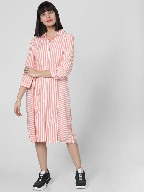 Peach Striped Shirt Dress