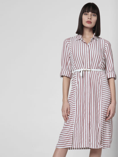 Brown Striped Shirt Dress