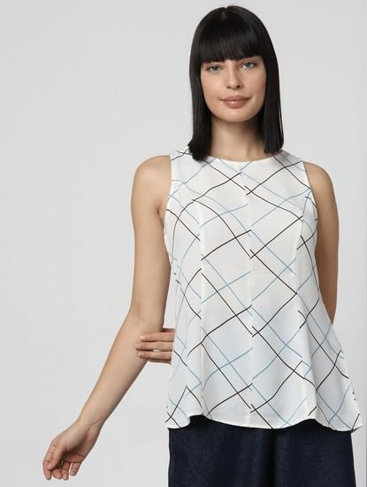 White All Over Print Top