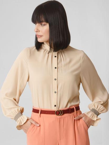 Beige Smocked Sleeves Shirt