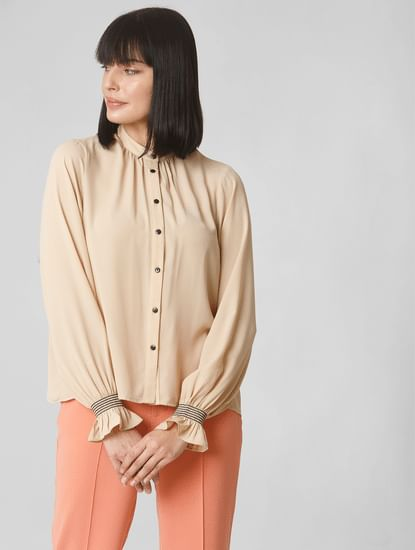 Beige Smocked Sleeves Shirt