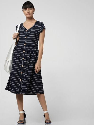 Navy Blue Striped Fit & Flare Dress