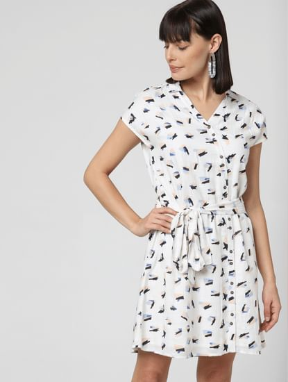 White All Over Print Dress