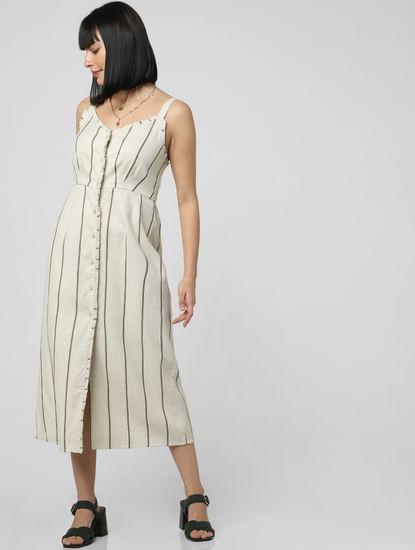 Off-White Striped Midi Dress