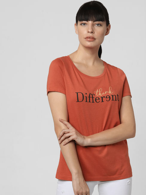 Rust Slogan Print T-shirt