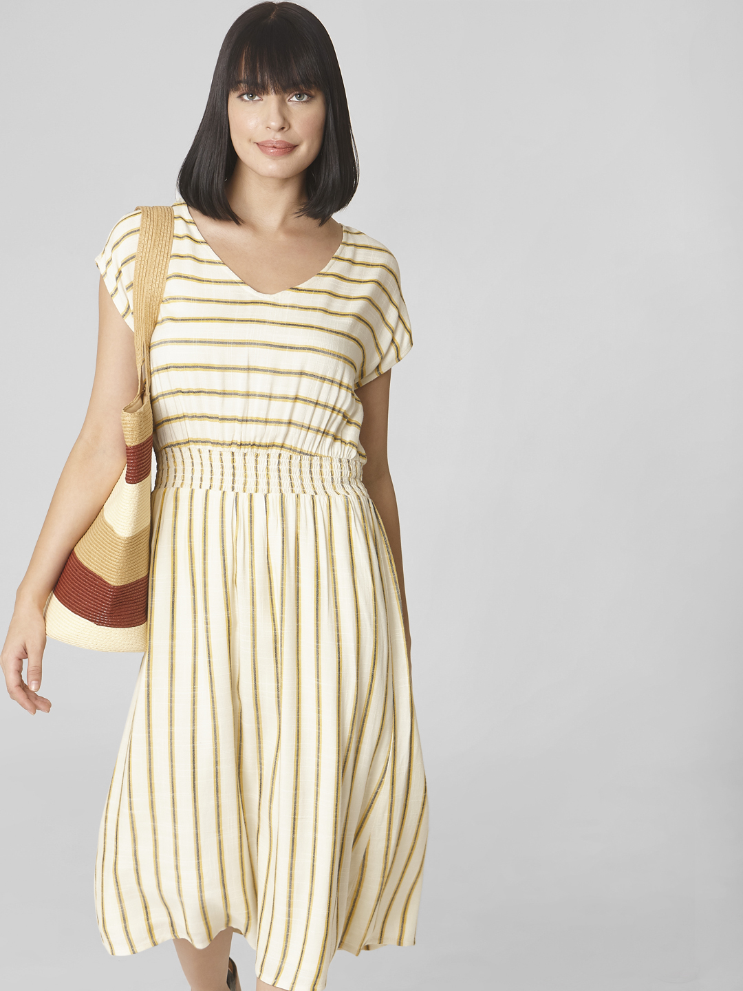 Off-White Striped Midi Dress