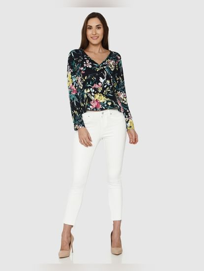 Navy Blue All Over Floral Print Wrap Top