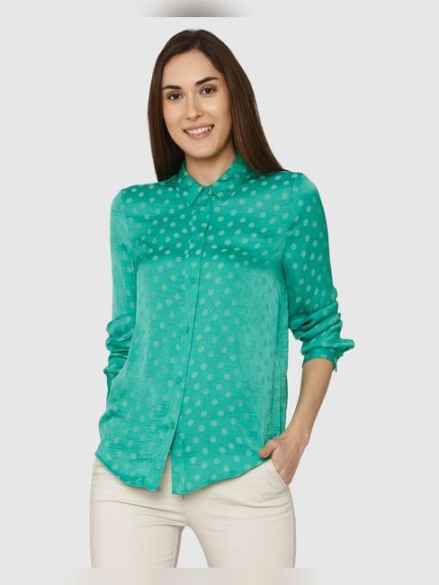 Green Polka Dot Print Shirt