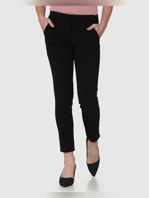 Black Mid Rise Ankle Length Straight Fit Trousers