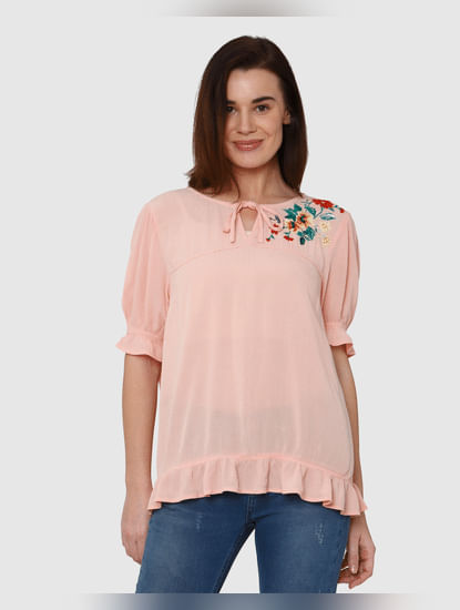 Pink Floral Graphic Print Ruffle Detail Top