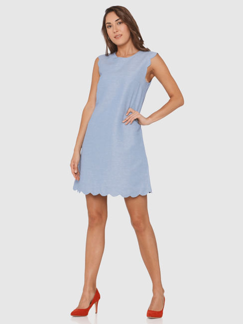 Blue Scallop Shift Dress