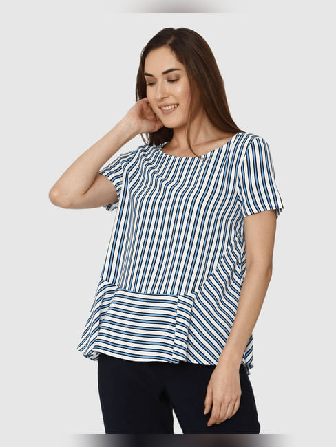 White And Blue Striped Peplum Top