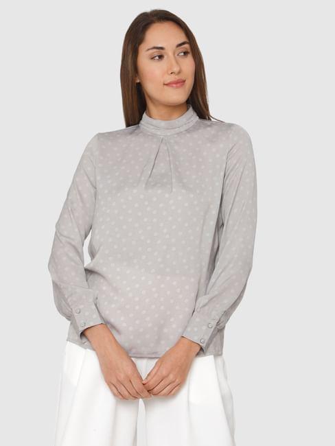 Grey Polka Dot High Neck Cuff Sleeves Top