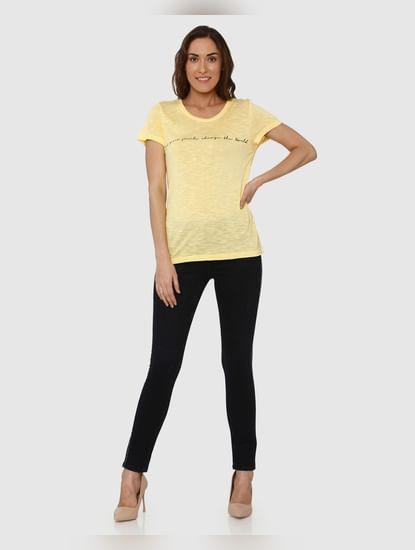 Yellow Text Print T-Shirt