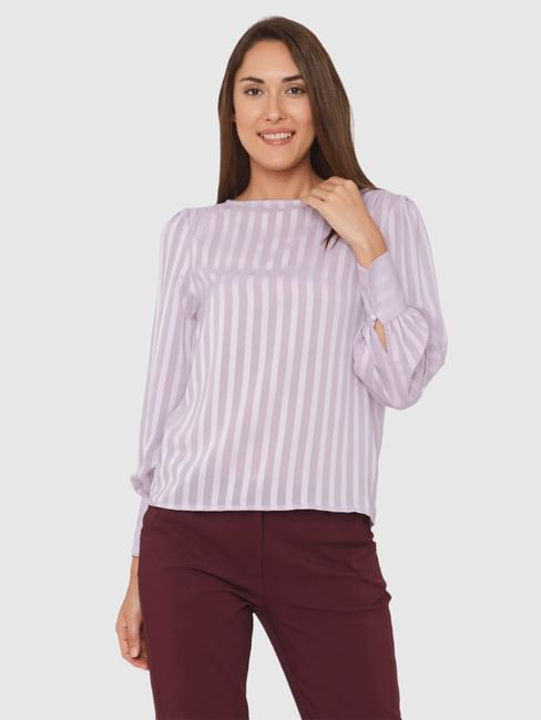 Lavender Striped Cuff Sleeves Top