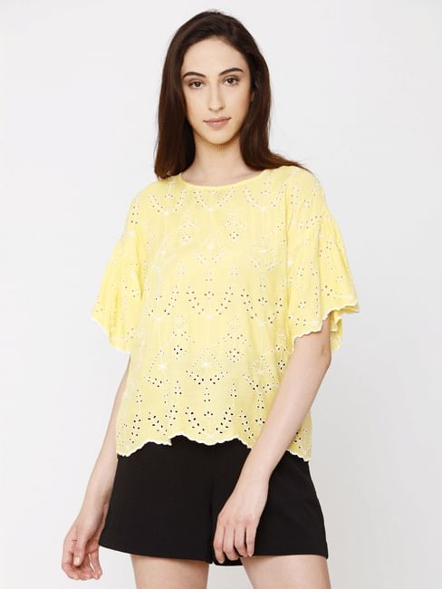 Yellow Cut Work Embroidery Crochet Top