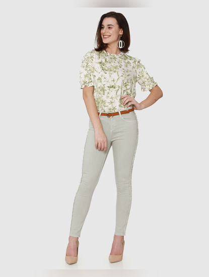 White All Over Tropical Print Ruffle Detail Top