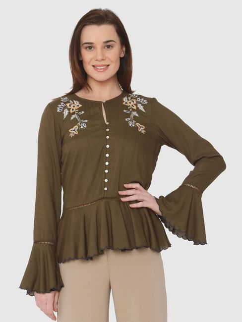 Green Floral Embroidery Circular Flounce Sleeves Top
