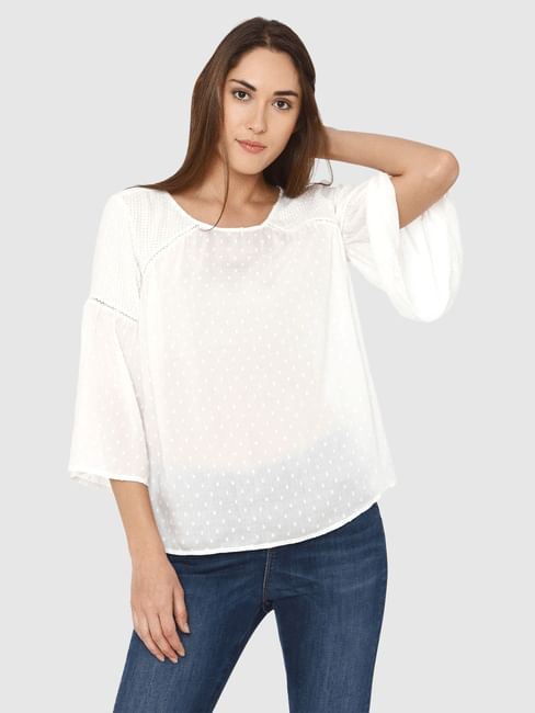 White Printed Textured Fabric Flared Sleeves Top