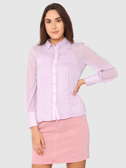 Lavender All Over Micro Square Print Sheer Shirt