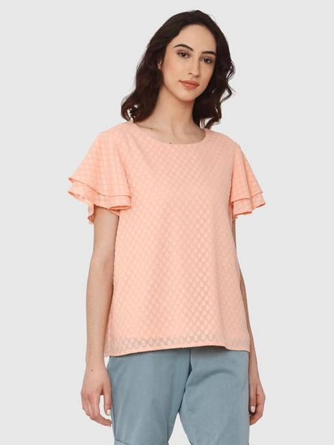 Pink Printed Ruffle Sleeves Top