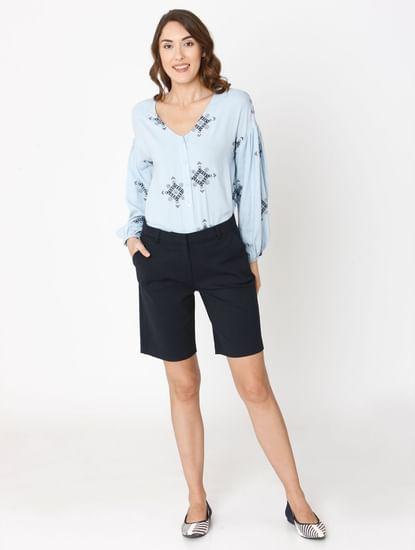 Navy Blue Mid Rise Shorts