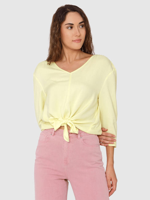 Yellow Front Knot Detail Top