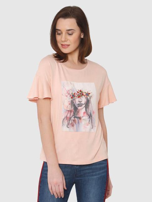 Beige Graphic Print Ruffled Sleeves T-Shirt