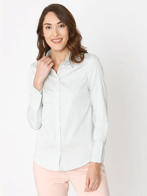 White Striped Formal Shirt