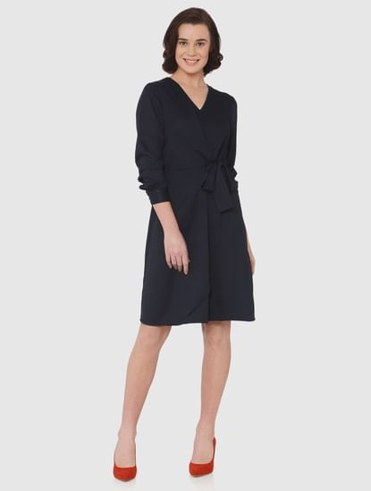 Navy Blue Front Tie Detail Fit & Flare Dress