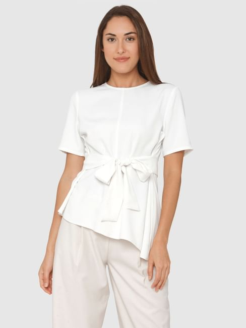 White Front Tie Asymmetric Top