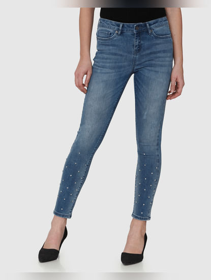 Blue Mid Rise Embellished Ankle Length Skinny Fit Jeans