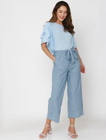 Light Blue Ruffle Sleeves Drop Shoulder Top