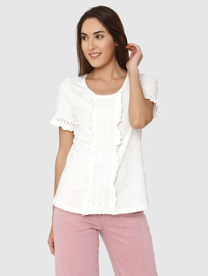 White Lace And Ruffle Detail Top