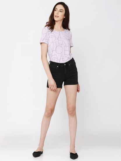 Black Mid Rise Slim Fit Mini Denim Shorts