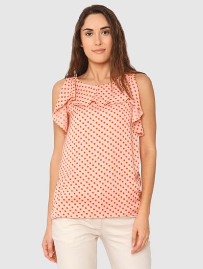 Peach Polka Dot Ruffle Top